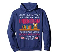 There Was A Librarian Who Loved Books And Dogs Book Lover T Shirt Hoodie Navy