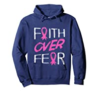 Faith Over R Breast Cancer Awareness Month Pink Ribbon Tank Top Shirts Hoodie Navy