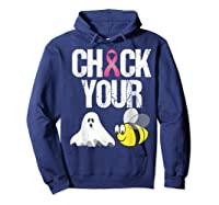 Check Your Boo Bees Shirt Funny Breast Cancer Halloween Gift Hoodie Navy