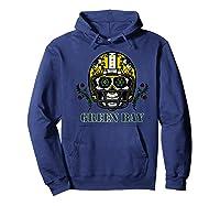 Green Bay Football Helmet Sugar Skull Day Of The Dead Premium T-shirt Hoodie Navy