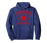 Cincinnati Baseball Vintage Distressed Ohio Red Retro Gift Shirts Hoodie Navy