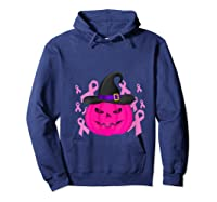 Pink Ribbon Pumpkin Halloween Breast Cancer Awareness Month T Shirt Hoodie Navy