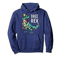 Christmas Tree Rex Shirts Dinosaur T-rex Raglan Baseball Tee Hoodie Navy