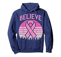 Believe Retro Sunset Pink Ribbon Breast Cancer Awareness T Shirt Hoodie Navy