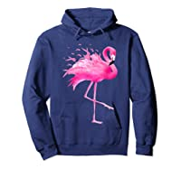Funny Flamingo Breast Cancer Awareness October Ribbon Pink T Shirt Hoodie Navy