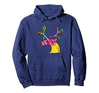 Tie Dye Reindeer Hippie Tie Dye Christmas Shirts Hoodie Navy