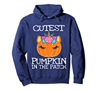Cutest Pumpkin In The Patch Unicorn Halloween Girls Gift Shirts Hoodie Navy