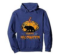 Bear Pumpkin Happy Halloween Costume Shirts Hoodie Navy
