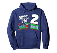 I'm Two Train 2nd Birthday Boy 2 Train Gift Shirts Hoodie Navy