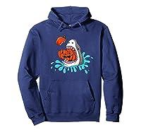 Shark Eats Jack O Lantern Funny Halloween Girls Shirts Hoodie Navy