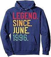 Legend Since June 1996 25th Birthday 25 Years Old Vintage T-shirt Hoodie Navy
