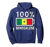 Senegal Flag T Shirt 100 Senegalese Battery Power Hoodie Navy
