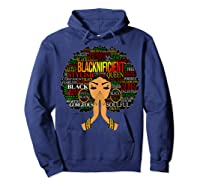 Blacknificient Words Art Afro Natural Hair Black Queen Gift Shirts Hoodie Navy