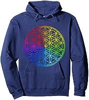 Blume Des Lebens Heilige Geometrie Spirituell Zen Yoga T-shirt Hoodie Navy