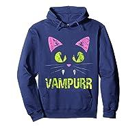 Halloween Scary Cat Vampire Vampurr Girl Shirts Hoodie Navy