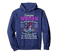 Scorpio With Mermaid Soul And Hippie Heart Shirts Hoodie Navy