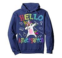 Hello Kindergarten Unicorn Tshirt Funny Back To School Gift Hoodie Navy