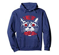 I Will Eat Your Soul Satanic Cat Spooky Halloween T Shirt Hoodie Navy