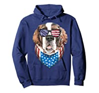 Fourth Of July Bernard American Flag July 4th St Bernard Dog T Shirt Hoodie Navy