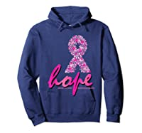 Hope Pink Ribbon Breast Cancer Awareness Month T Shirt Hoodie Navy