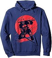 Marvel Deadpool Red Moon Samurai Graphic T-shirt Hoodie Navy