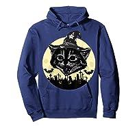 Vintage Scary Halloween Black Cat Witch Hat Moon Pumpkin Bat T Shirt Hoodie Navy
