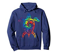 Save Sea Turtles Rainbow Tie Dye Hawaiian Shirts Hoodie Navy