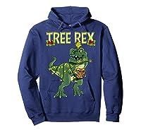 Tree Rex Shirt Christmas T Rex Dinosaur Pajama T-shirt Hoodie Navy