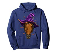 Horse Witch Hat Funny Halloween Gifts Horse Lover Whisperer T Shirt Hoodie Navy