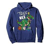 Tree Rex Dinosaur Christmas Gift T Rex Pajamas Xmas Premium T-shirt Hoodie Navy