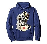 Cute Owl Cartoon Bird Hand Draw T Shirt Design Hoodie Navy