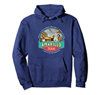 Amarillo Tx Texas Historic Route 66 Longhorn Cowboy Souvenir Premium T-shirt Hoodie Navy