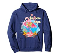 Pink Flamingo Believe Hope Breast Cancer Awareness Month T Shirt Hoodie Navy