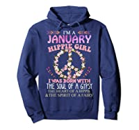 I'm A January Hippie Girl T-shirt Capricorn Pride Hoodie Navy
