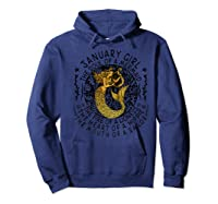January Girl The Soul Of A Mermaid Tshirt Funny Gifts Premium T Shirt Hoodie Navy