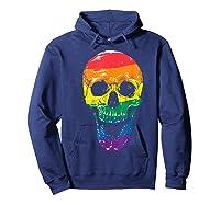 Lgbt Gay Pride T-shirt Skull Rainbow Hoodie Navy