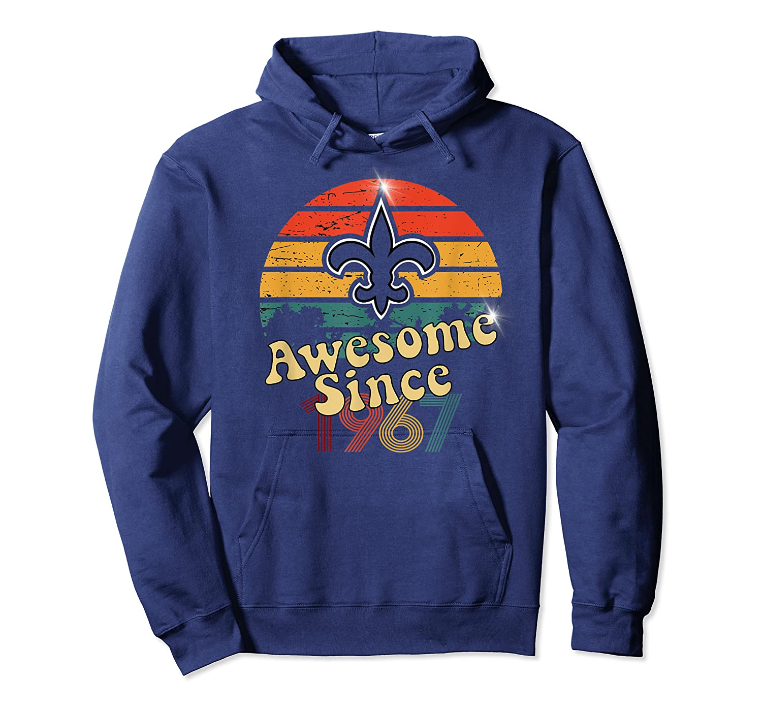 Vintage Saints Awesome Since 1967 New Orleans Football Retro Shirts Unisex Pullover Hoodie