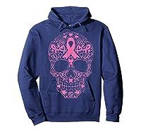 Sugar Skull Pink Ribbon Calavera Breast Cancer Awareness T Shirt Hoodie Navy