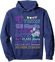 9 Years Old Gifts 9th Birthday Shirt Countdown T-shirt Hoodie Navy
