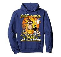 Just A Girl Love Pug Dog Halloween Gift Shirts Hoodie Navy