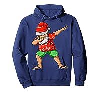 Dabbing Santa Christmas In July Party Hawaiian Santa Beach Shirts Hoodie Navy