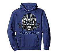 Indianapolis Football Helmet Sugar Skull Day Of The Dead T Shirt Hoodie Navy
