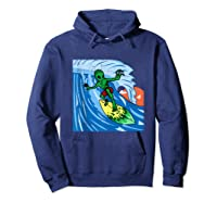Area-51 Alien Surfing Ocean Wave Lazy Surfer Halloween Gift Tank Top Shirts Hoodie Navy