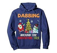 Dabbing Around The Christmas Tree Santa Clause Snowman Ugly T-shirt Hoodie Navy