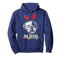 Oh Deer Funny American Bulldog Xmas Premium T-shirt Hoodie Navy
