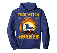 This Witch Loves Horses T-shirt Halloween Cosplay Hoodie Navy