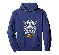 Funny Halloween Skeleton Pregnancy Pizza Beer Xray Apparel Shirts Hoodie Navy