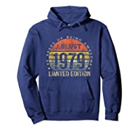 Born In August 1979 40 Years Old August Birth Shirts Hoodie Navy