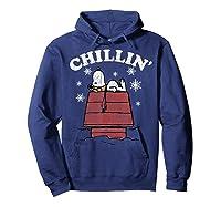 Peanuts Snoopy Holiday Chillin Shirts Hoodie Navy