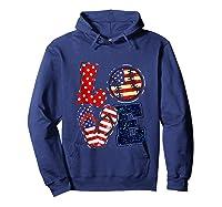 Love Softball Usa Flag 4th Of July Flip Flop Softball Usa Shirts Hoodie Navy